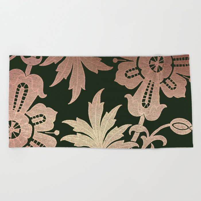 Black and Rose Gold  Floral Beach Towel