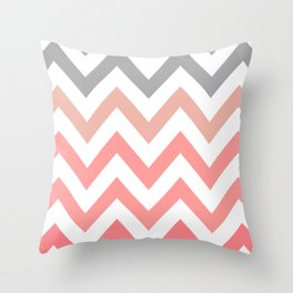 CORAL FADE CHEVRON Throw Pillow