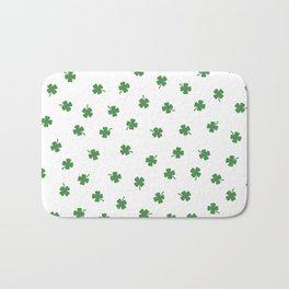 Green Shamrocks White Background Bath Mat