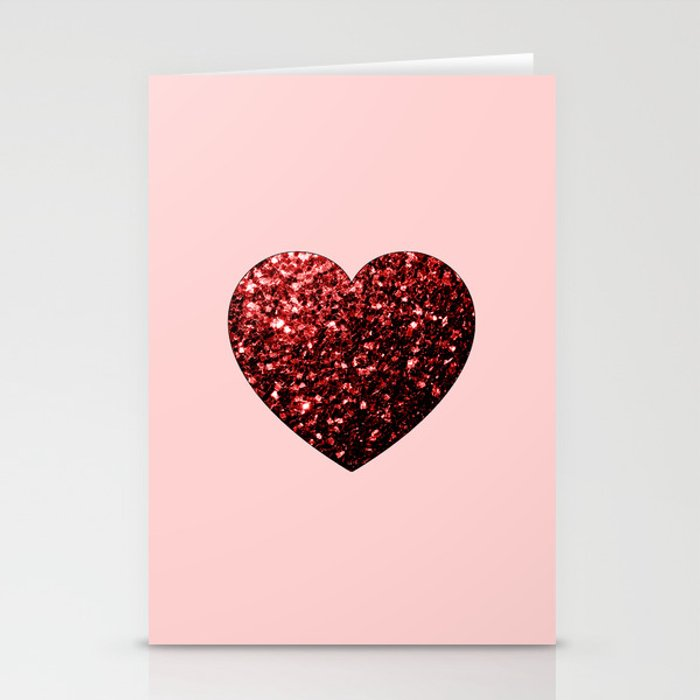 Red Glitter sparkles Heart stationery card by PLdesign