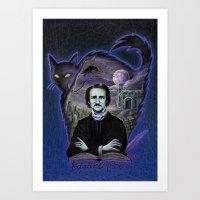 edgar allan poe Art Prints featuring Edgar Allan Poe Gothic by Scott Jackson Monsterman Graphic