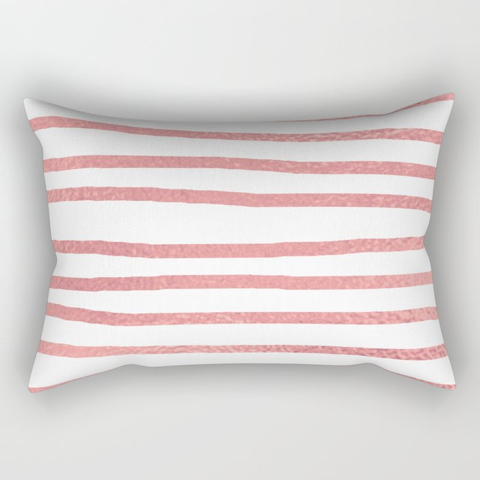 Simply Drawn Stripes Warm Rose Gold on White Rectangular Pillow