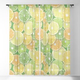 Citrus fruit slices pop art 3 Sheer Curtain