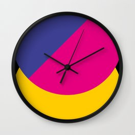 Black sky. The yellow sun is hidden by an half purple half violet Ufo. Wall Clock