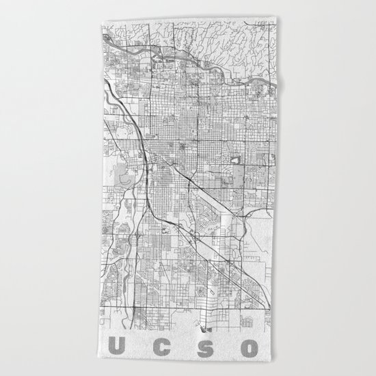 Tucson Map Line Beach Towel