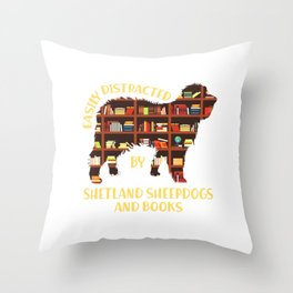 Shetland Sheepdogs And Books  I Love Reading Books Throw Pillow