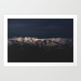 Dreamy sunset on the mountain top Art Print