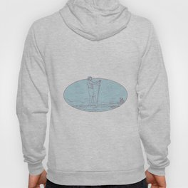 Guy Stand Up Paddle Tropical Island Oval Drawing Hoody