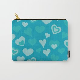 Turquoise sweet love hearts  Carry-All Pouch
