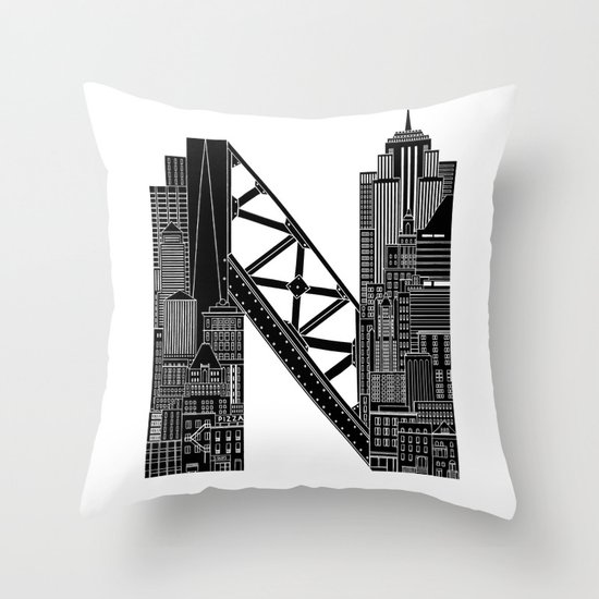 N - from NYC Throw Pillow