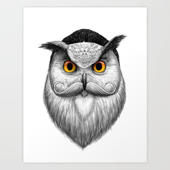 bearded owl Art Print