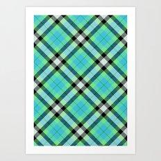 Blue Green Plaid Art Print