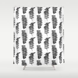Hand painted watercolor black white fern floral leaves Shower Curtain