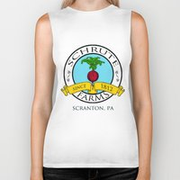 dwight schrute Biker Tanks featuring Schrute Farms | The Office - Dwight Schrute by Silvio Ledbetter