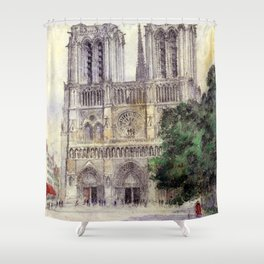 "Cass Gilbert ""Cathedral of Notre Dame, Paris"" (1933) Shower Curtain"