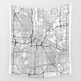 Minneapolis Map White Wall Tapestry