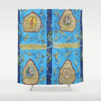 literature Shower Curtains featuring Obscene Literature by mel b textiles