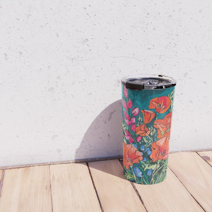 California Poppy and Wildflower Bouquet on Emerald with Tigers Still Life Painting Travel Mug