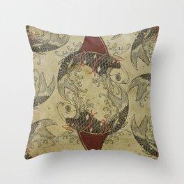 ying and yang shark fin goldfish Throw Pillow