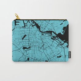 Amsterdam Turquoise on Black Street Map Carry-All Pouch