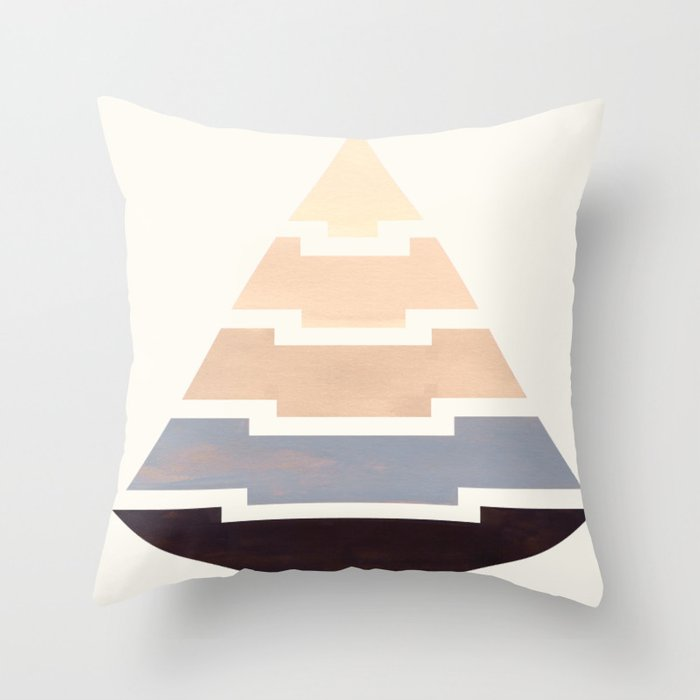 Grey Mid Century Modern Minimalist Aztec Triangle Geometric Pattern Pyramid Watercolor Gradient Throw Pillow