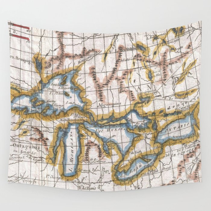 Lakes Of Canada Map.Vintage Map Of The Great Lakes Canada 1780 Wall Tapestry