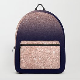 Modern faux rose gold glitter ombre gradient on navy blue Backpack