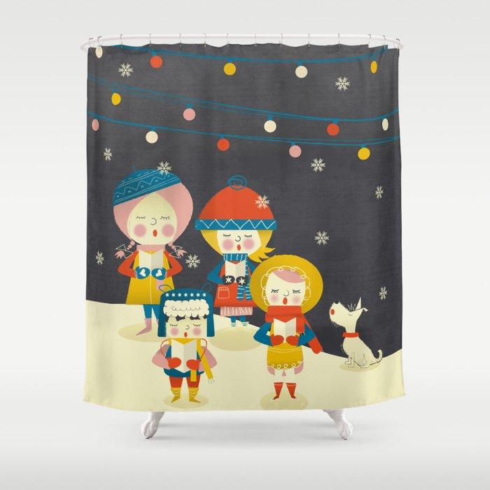Christmas Carol Singers Figurines.Christmas Carols Singers Shower Curtain