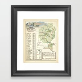 New York State Adirondack/High Peaks table [vintage inspired] Map print Framed Art Print