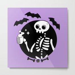 Death Before Decaf // Purple Metal Print