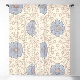 Floral Arabesque in Neutral Blue Gray Beige Blackout Curtain