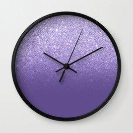 Modern ultra violet faux glitter ombre purple color block Wall Clock