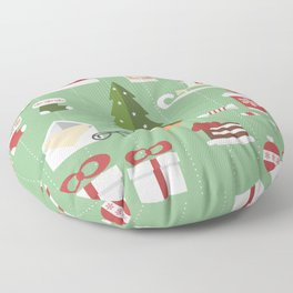 Christmas objects drawings on green bacgkround Floor Pillow