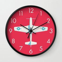 P51 Mustang Fighter Aircraft - Crimson Wall Clock