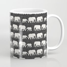 elephant march - charcoal Coffee Mug