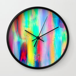 BE POSITIVE #2 Colorful Abstract Painting Lines Pattern Fluorescent Modern brushstrokes Wall Clock