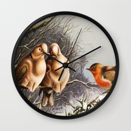 Vintage Chubby Winter Birds Wall Clock
