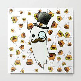 ghost gentleman in a top hat and candy corn Metal Print