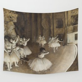 Ballet Rehearsal on Stage Wall Tapestry