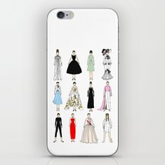 Outfits of Audrey Hepburn Fashion (White) iPhone Skin