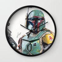 boba Wall Clocks featuring Boba Fett by lunaevayg