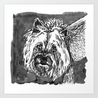 yorkie Art Prints featuring yorkie by Jenn Steffey
