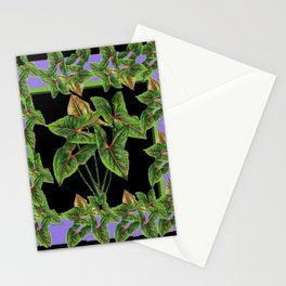 Decorative Green Tropical Botanical Foliage  Lilac-Black Art Stationery Cards