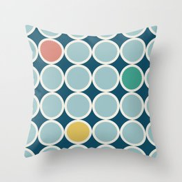 Scalloped Circles in Blue Throw Pillow