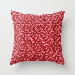 Beautiful delicate distressed white artistic crawling lizards. Elegant burgundy red lizard pattern Throw Pillow