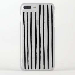 Vertical Black and White Watercolor Stripes Clear iPhone Case