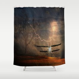aircraft emergency landing storm Shower Curtain