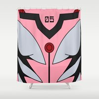 evangelion Shower Curtains featuring Mari Rebuild Plugsuit by Bunny Frost