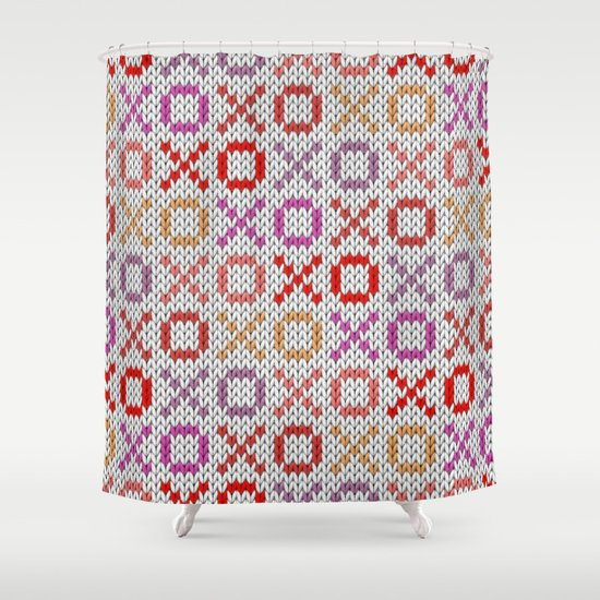 XOXO pattern - light Shower Curtain by Knitted Cake Society6