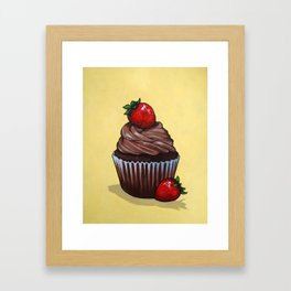 Chocolate Cupcake With Strawberries on Yellow Backgound Framed Art Print